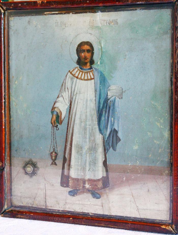 Икона с мощами первомученика архидиакона Стефана